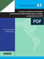 Soluciones al problema de circularidad para determinar el WACC en flujos  finitos y variables - Su equivalencia con el APP- Luis Chavez Bedorya - Ernesto Guevara