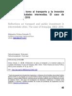 Reflexiones en torno al transporte y la inversión publica en ciudades intermedias. El caso de Arequipa, 2002-2016