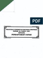 Peraturan Pemerintah Republik Indonesia Nomor 24 Tahun 1997 Tentang Pendaftaran Tanah