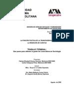 Tesis LA FUNCIÓN POLÍTICA DE LA TRANSPARENCIA Y LA RENDICIÓN DE CUENTAS