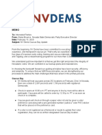 MEMO NV Dems Caucus Day Update