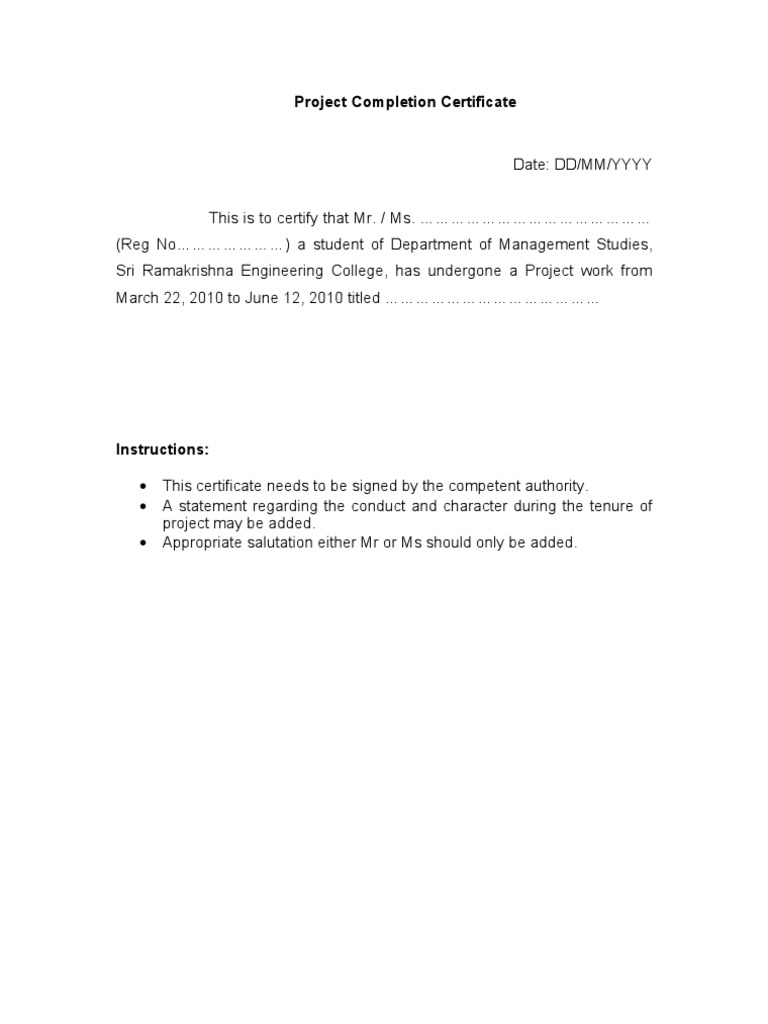Project Completion Certificate Format – Project Completion Certificate Format