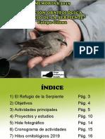Memorias 2019. Grupo Ornitológico Zamalla