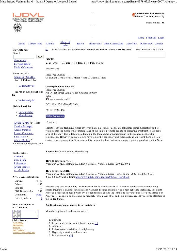 Mesotherapy Vedamurthy M -    | Medicine | Clinical Medicine