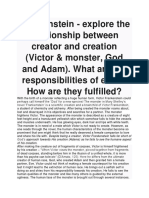 Frankenstein - explore the relationship between creator and creation (Victor & monster, God and Adam)