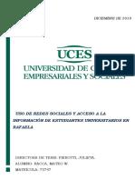 Uso de redes sociales y acceso a la información de estudiantes universitarios en Rafaela
