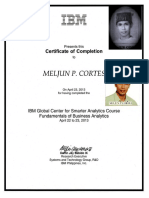 IBM Training Certificate Business Analytics