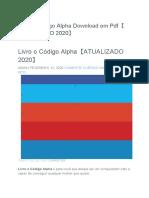 Livro o Código Alpha Download Em PDF【ATUALIZADO 2020】