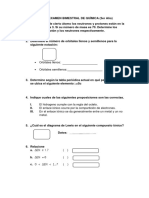 PRIMER EXAMEN BIMESTRAL DE QUÍMICA (3er año)