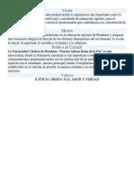 Visión-Mision-Politicade Calidad-Valores Fundamentales UNICAH