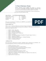 Syllabus for JNVs Class 6 Entrance Exam