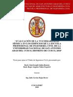 EVALUACIÓN DE LA VULNERABILIDAD SISMICA EN LOS EDIFICIOS DE LA ESCUELA PROFESIONAL DE INGENIERIA CIVIL DE LA UNIVERSIDAD NACIONAL DE SAN ANTONIO ABAD DEL CUSCO, 2018