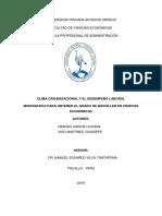 CLIMA ORGANIZACIONAL Y EL DESEMPEÑO LABORAL