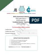 GA Classic IESOL E3 (B1) Candidate Booklet Listening HIPPO Sample