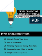 DEVELOPMENT OF ASSESSMENT TOOLS