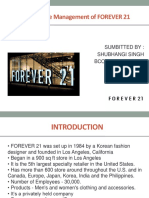 A STUDY ON THE MANAGEMENT OF FOREVER 21
