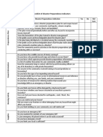 Checklist of Disaster Preparedness Indicators