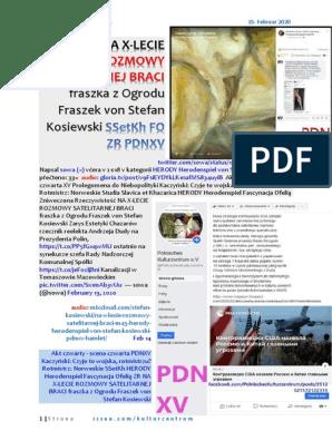 NA X-LECIE ROZMOWY SATELITARNEJ BRACI M45 HERODY Herodenspiel von Stefan Kosiewski SSetKh FO ZR PDNXV 20200215 ME SOWA HAMLET M44 ZIOBRO MOPS