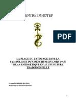 Baujon La Place Du Tatouage Dans La Symbolique Du Corps Humain Lors Dun Bilan Energetiqueen Acupuncture Chinoise