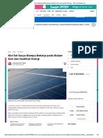 Sel Surya Mampu Bekerja pada Malam Hari dan Hasilkan Energi