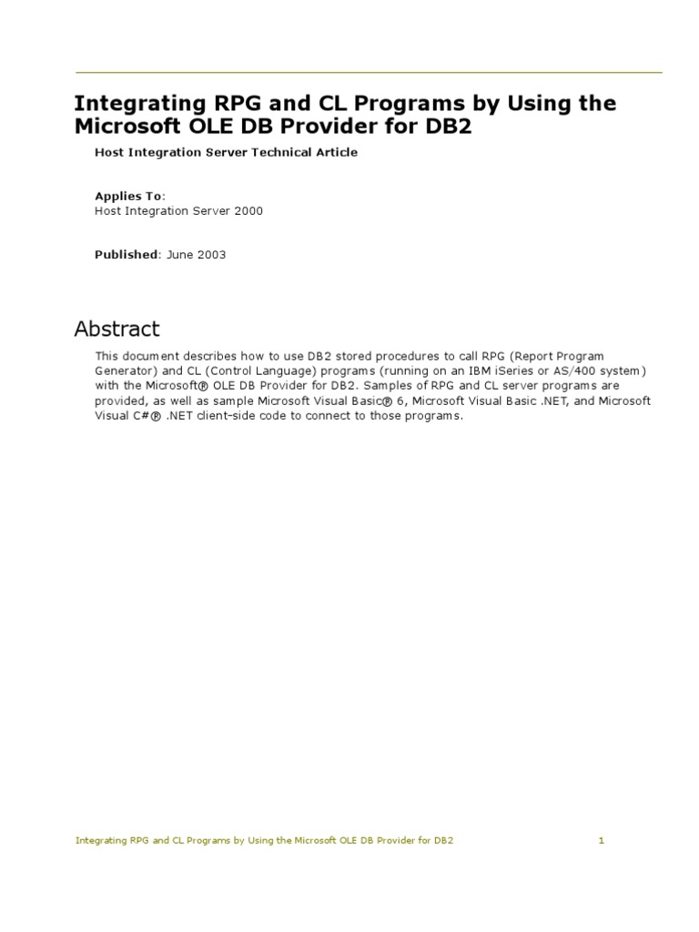Integrating RPG and CL Programs by Using the Microsoft OLE