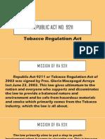 RA 9211 TOBACCO REGULATION ACT