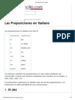 Las Preposiciones en Italiano