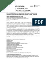 BOLETÍN DE PRENSA Presentación y entrega del libro MANUAL DE POLÍTICA CULTURAL