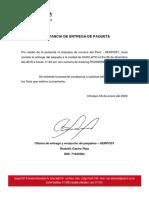 CONSTANCIA DE ENTREGA DE PAQUETE