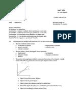 Kinematics Test w Solutions