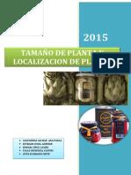 TAMAÑO DE PLANTA Y LOCALIZACIÓN DE PLANTA