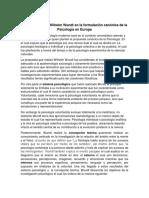 La propuesta de Wilhelm Wundt en la formulación canónica de la Psicología en Europa