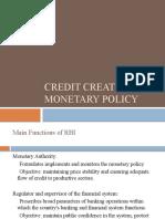 Credit Creation & Monetary Policy