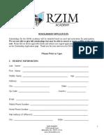 RZIM Academy Scholarship Application