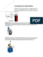 Tools and Equipment for Metal Works