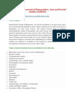 International Journal of Humanities, Arts and Social Studies (IJHAS)