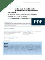 Evaluación del nivel de inglés en los programas de enfermería en Colombia
