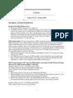 Winter 2008  International Society for Environmental Ethics Newsletter