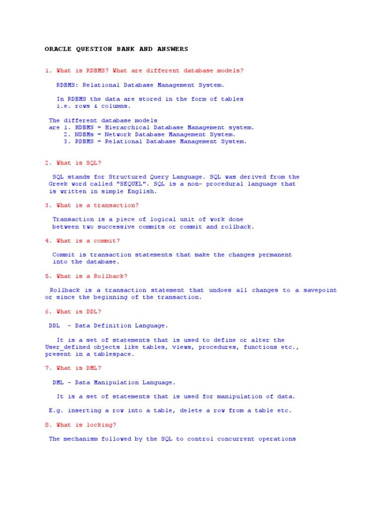 SQL Questions   Relational Database   Pl/Sql