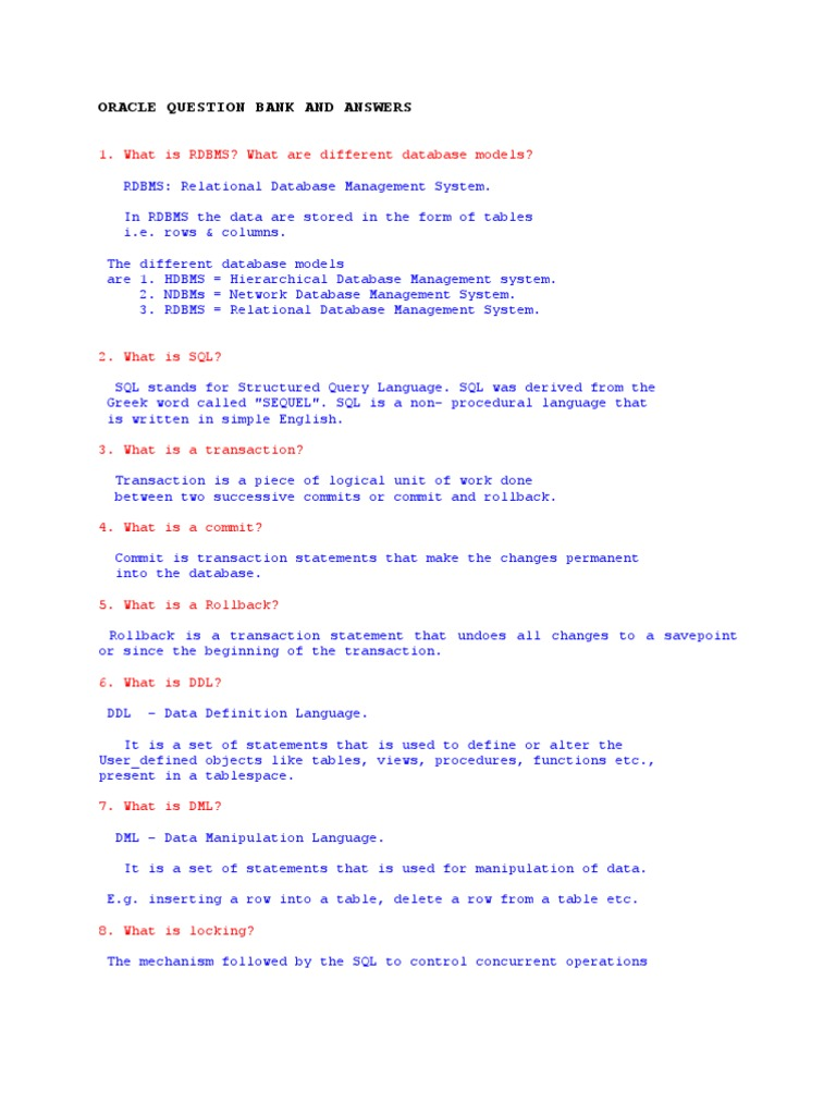 SQL Questions | Relational Database | Pl/Sql