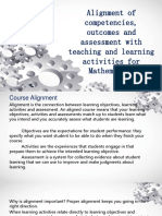 Alignment of competencies, outcomes and assessment with