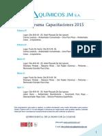 Quimicos JM S.A. Cronograma capacitaciones gratuitas 2015 (colombia)