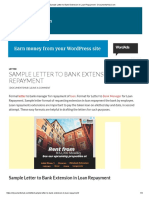 Sample Letter to Bank Extension in Loan Repayment - DocumentsHub.Com