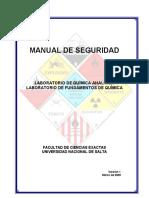 MANUAL DE SEGURIDAD LABORATORIO DE QUÍMICA ANALÍTICA LABORATORIO DE FUNDAMENTOS DE QUÍMICA FACULTAD DE CIENCIAS EXACTAS UNIVERSIDAD NACIONAL DE SALTA.pdf