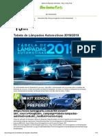 Tabela de Lâmpadas Automotivas
