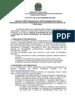 EDITAL Nº 017.2020 - SELEÇÃO ESTUDANTES AUXÍLIO PERMANÊNCIA CAE 2020-I