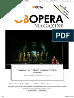 """Salome"" al Teatro Carlo Felice di Genova – GBOPERA"