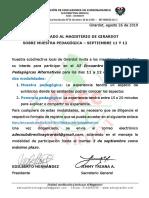 2019_Comunicado Muestra pedagógica 11 y 12 septiembre