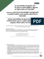 Lecciones aprendidas de la gestion del conocimiento para la Salud Publica- Colombia