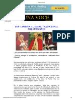 LOS CAMBIOS AL MISAL TRADICIONAL POR JUAN XXIII